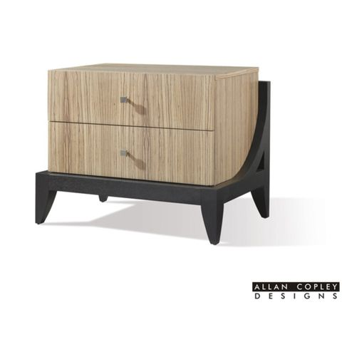Bonita 2-Drawer Night Stand in Zebrawood with Mocha on Oak Finished Base by Allan Copley Designs