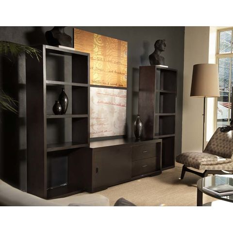 Pavilion 3 Piece Entertainment Wall with Center Cabinet in Espresso Finish by Allan Copley Designs