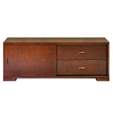 Pavilion Entertainment Cabinet with 2-Sliding Doors, 2-Drawers in an Espresso Finish by Allan Copley Designs