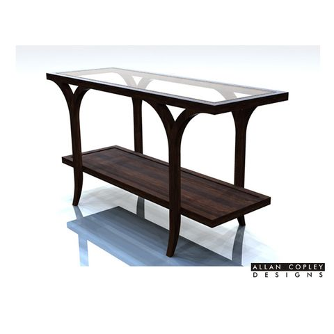 Sebastian Rectangular Console Table with Glass Top and Mid-Shelf in Espresso Finish by Allan Copley Designs