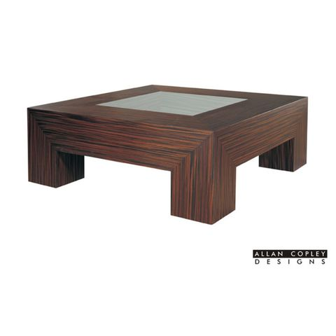 Melrose Square Cocktail Table with Glass Inset   and Macassar Ebony Finish by Allan Copley Designs
