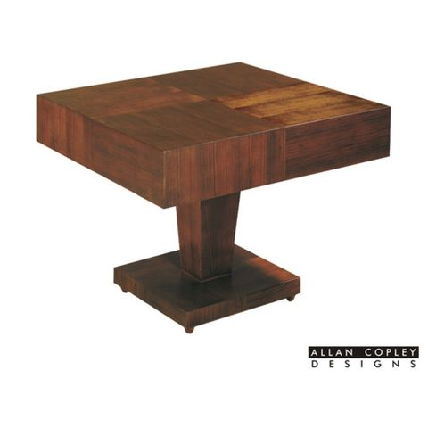 Sarasota Square Occasional Table with Pedestal Base In Walnut on Walnut Finish by Allan Copley Designs