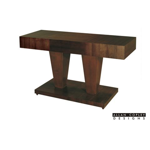 Sarasota Square Console Table with Dual Pedestal Base In Walnut on Walnut Finish by Allan Copley Designs