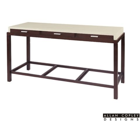 Spats 3-Drawer Rectangular Console Table in Espresso Finish with White on Ash Top by Allan Copley Designs