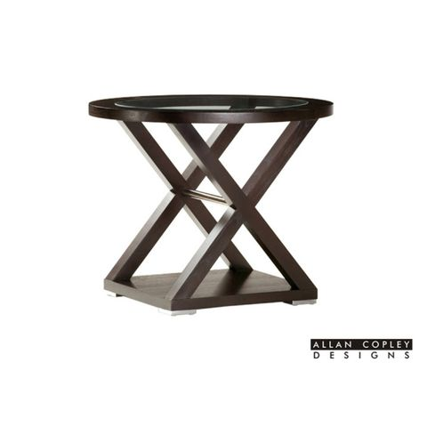 Halifax Oval Glass Top End Table in Espresso Finish with Brushed Stainless Steel Accents by Allan Copley Design