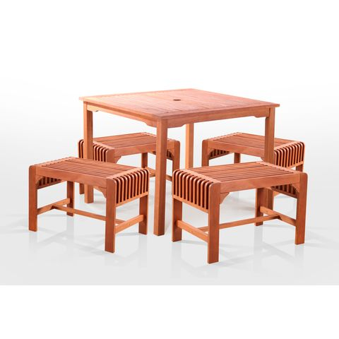 5-Piece Dining Set with Square Table and Backless Benches by Vifah Wholesale