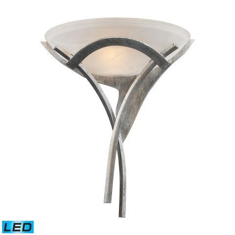 Aurora 1-Light Sconce In Tarnished Silver With White Faux-Alabaster Glass by Elk Lighting